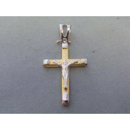 Zlatý pánsky prívesok krížik umučenie biele žlté zlato VI183V 14 karátov 585/1000 1,83g