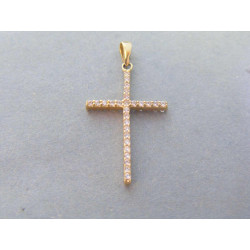 Zlatý dámsky prívesok krížik žlté zlato zirkóny VI117Z 14 karátov 585/1000 1,17g