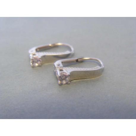 Zlaté dámske náušnice biele zlato zirkóny VA233B 14 karátov 585/1000 2,33g