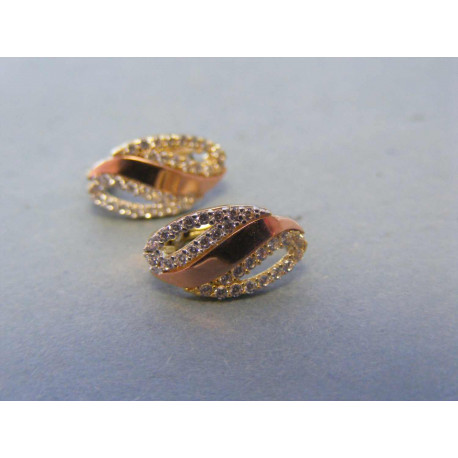 Zlaté dámske náušnice viacfarebné zlato zirkóny VA175V 14 karátov 585/1000 1,75g