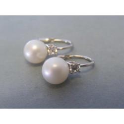 Zlaté dámske náušnice biele zlato perla zirkón VA365B 14 karátov 585/1000 3,65g