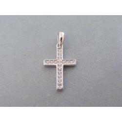 Strieborný prívesok krížik zirkóny VIS083 925/1000 0,83g