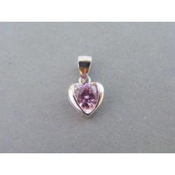 Strieborný prívesok srdiečko ružový kameň VIS107 925/1000 1,07g