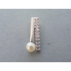 Strieborný dámsky prívesok zirkóny perla DIS167 925/1000 1,67g