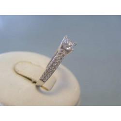 Zlatý dámsky prsteň zirkóny biele zlato VP56179B 14 karátov 585/1000 1,79g