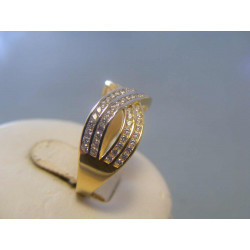 Zlatý dámsky prsteň biele žlté zlato zirkóny VP58280V 14 karátov 585/1000 2,80g