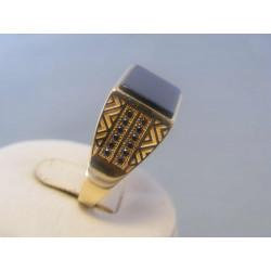 Zlatý pánsky prsteň zirkóny onyx žlté zlato DP65786Z 14 karátov 585/1000 7,86g