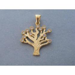 Zlatý prívesok strom života zirkóny žlté zlato DI150Z 14 karátov 585/1000 1,50g