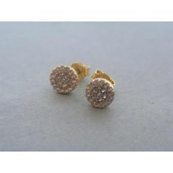 Zlaté dámske náušnice žlté zlato zirkóny DA132Z 14 karátov 585/1000 1,32g