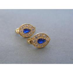 Zlaté dámske náušnice modrý zirkón DA183Z 14 karátov 585/1000 1,83g