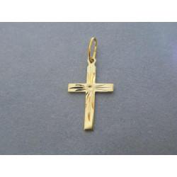 Zlatý prívesok krížik žlté zlato vzorovaný DI042Z 14 karátov 585/1000 0,42g