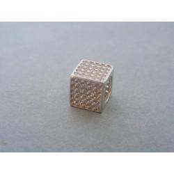 Zlatý dámsky prívesok kocka zirkóny biele zlato DI212B 14 karátov 585/1000 2,12g