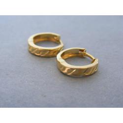 Zlaté dámske náušnice krúžky žlté zlato vzorované DA119Z 14 karátov 585/1000 1,19g