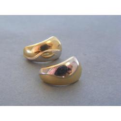 Zlaté dámske náušnice biele žlté zlato hladké DA169V 14 karátov 585/1000 1,69g