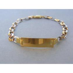 Zlatý detský náramok biele žlté zlato platnička DN16310V 14 karátov 585/1000 3,10g