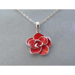 Strieborná dámska retiazka červený kvet DRS48378 925/1000 3,78g