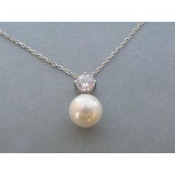 Strieborná dámska retiazka prívesok perla zirkón DRS45368 925/1000 3,68g