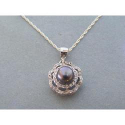 Strieborná dámska retiazka prívesok perla zirkóny DRS45272 925/1000 2,72g