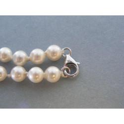 Biely perlový náhrdelník strieborné zapínanie VRS442010 925/1000 20,10g