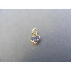 Dámsky prívesok žlté zlato zirkóny srdce DI020Z 585/1000 14 karátov 0,20 g