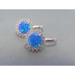Strieborné naušnice modrý opál zirkóny DAS551 925/1000 5,51 g