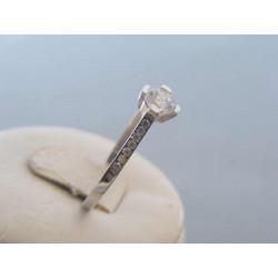 Dámsky zlatý prsteň biele zlato zirkóny DP62142B 14 karátov 585/1000 1,42 g