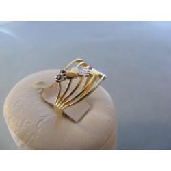 Zlatý dámsky prsteň biele žlté zlato srdiečka DA53206V 14 karátov 585/1000 2,06 g
