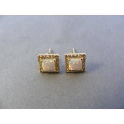 Zlaté dámske naušnice kocky opál zirkóny žlté zlato DA145Z 14 karátov 585/1000 1,45 g