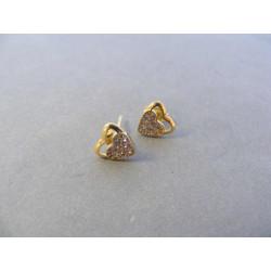 Dámske zlaté naušnice napichovačky  srdiečka zirkóny žlté zlato DA096Z 14 karátov 585/1000 0,96 g