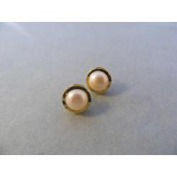 Dámske zlaté naušnice napichovačky s perličkou žlté zlato DA190Z 14 karátov 585/1000 1,90 g