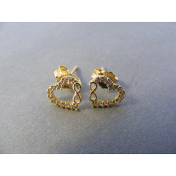 Zlaté dámske naušnice napichovačky srdiečka zirkóny DA120Z 14 karátov 585/1000 1,20 g