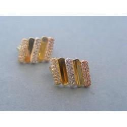 Zlaté dámske náušnice viacfarebné zlato DA403V 585/1000 14 karátov 4,03 g
