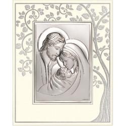 Strieborný obraz Svätá rodina na paneli 6665P/5A
