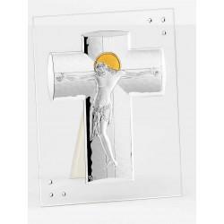 Strieborný obraz Kríž s Ježišom na skle F6586VSW_7