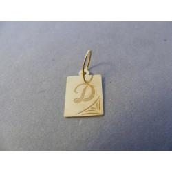 Zlatý prívesok pismeno D žlté zlato DI050Z 14 karátov 0,50 g