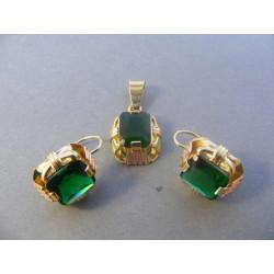 Zlatá súprava naušnice , prívesok viacfarebné zlato zirkón DS1020V 585/1000 14 karátov 10,20 g