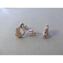 Strieborné dámske naušnice šrubovačky tvar Labuť zirkóny DAS338 925/1000 3,38 g