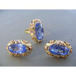 Zlatá dámska súprava naušnice, prsteň zirkóny DS601245 viacfarebné zlato 14 karátov 585/1000 12,45 g