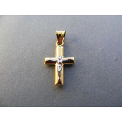 Zlatý prívesok Ježiš na kríži viacfarebné zlato DI061V 14 karátov 585/1000 0,61 g