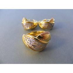 Zlatá dámska súprava prsteň, naušnice DS832V viacfarebné zlato 14 karátov 585/1000 8.32 g