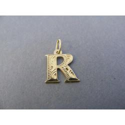 Zlatý prívesok písmeno R DI042Z žlté zlato 14 karátov 585/1000 0,42 g