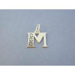 Zlatý prívesok písmeno M vzorované DI037Z žlté zlato 14 karátov 585/1000 0,37 g