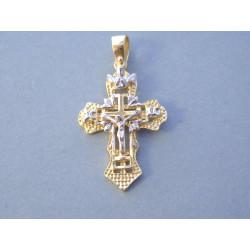 Zlatý prívesok Ježiš na kríži viacfarebné zlato VI290V 14 karátov 585/1000