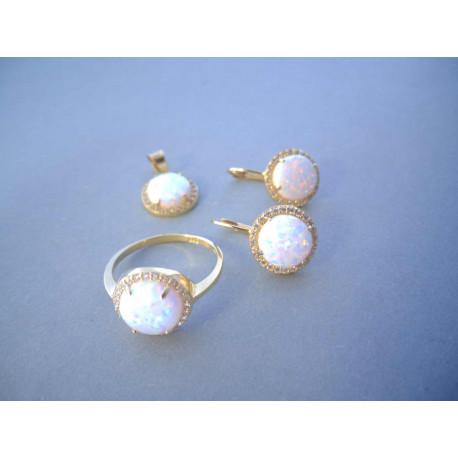 Zlatá dámska súprava prívesok,naušnice, prsteň Opál zirkóny VS56602Z 14 karátov 585/1000 6,02 g