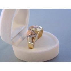 Dámsky zlatý prsteň viacfarebné zlato zirkóny VP64422V 14 karátov 585/1000 4,22 g