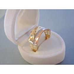 Výrazný dámsky zlatý prsteň viacfarebné zlato zirkóny DP64361V 14 karátov 585/1000 3,61 g