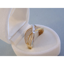 Dámsky zlatý prsteň viacfarebné zlato zirkóny DP60274V 14 karátov 585/1000 2,74 g