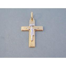 Zlatý prívesok Ježiš na kríži viacfarebné zlato VI088V 14 karátov 585/1000 0,88 g
