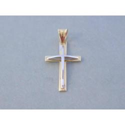 Zaujímavý prívesok Kríž viacfarebné zlato VI066V 14 karátov 585/1000 0,66 g