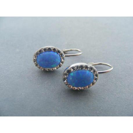 Dámske strieborné naušnice modrý opál zirkóny DAS181 925/1000 1,81 g